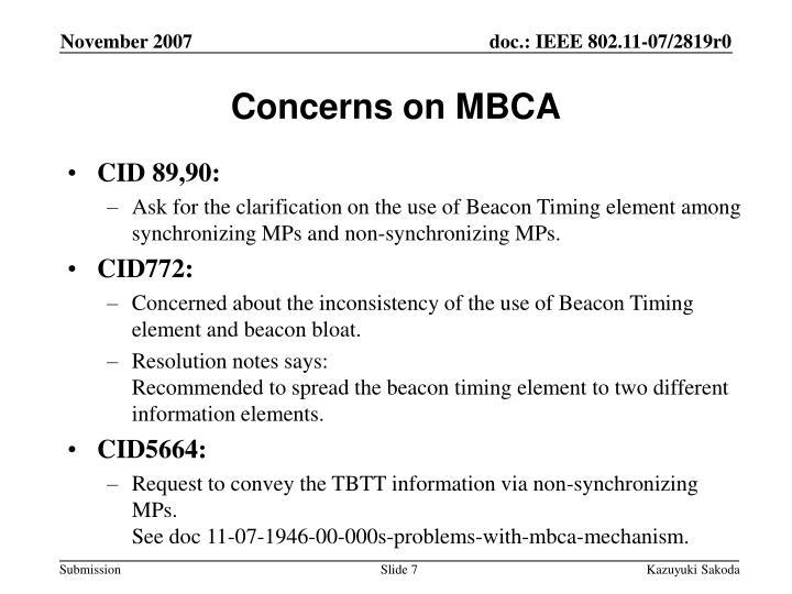 Concerns on MBCA