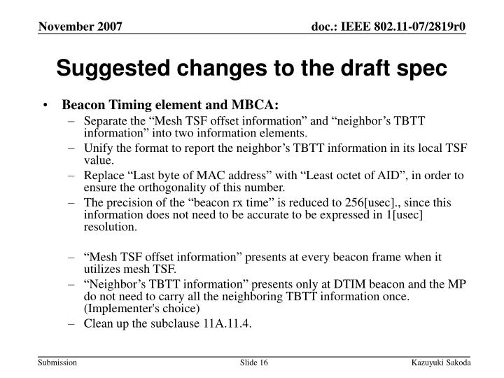 Suggested changes to the draft spec