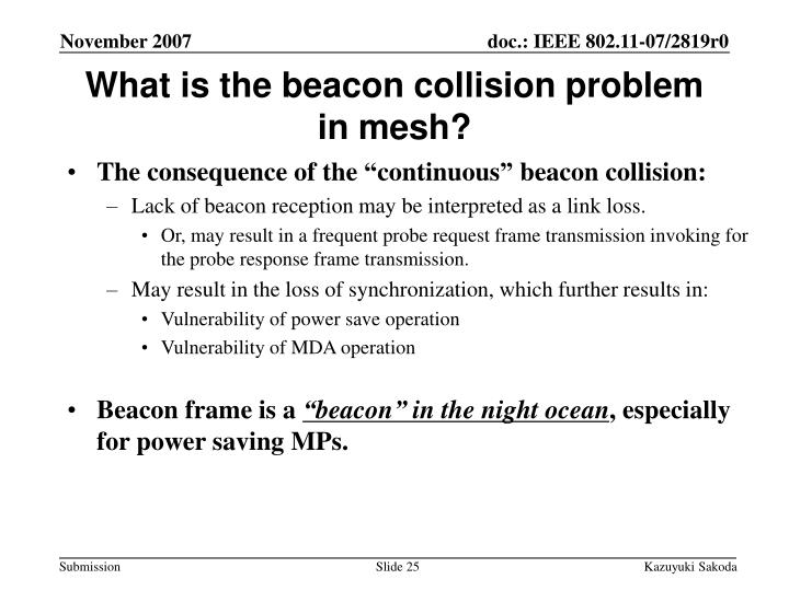 What is the beacon collision problem in mesh?