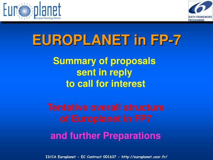 EUROPLANET in FP-7