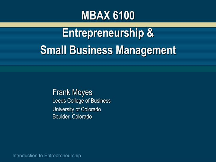 mbax 6100 entrepreneurship small business management n.