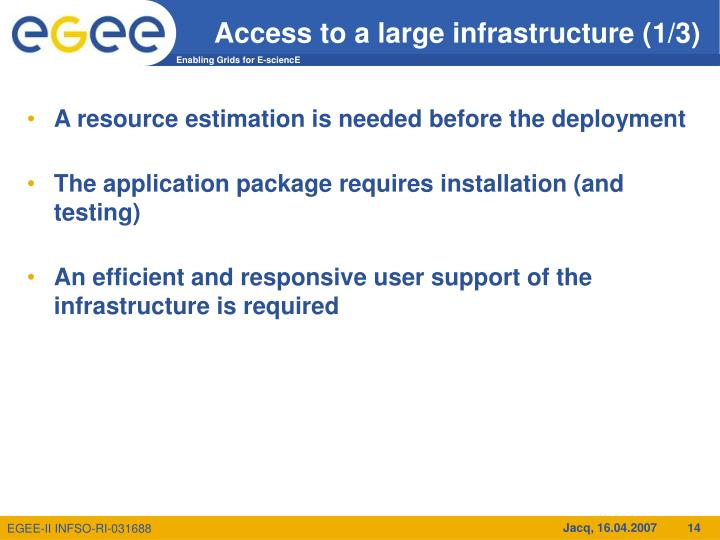 Access to a large infrastructure (1/3)