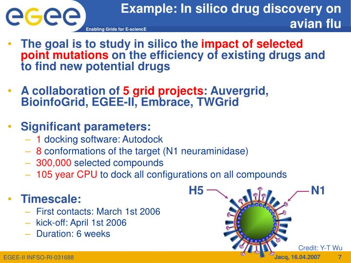 Example: In silico drug discovery on avian flu