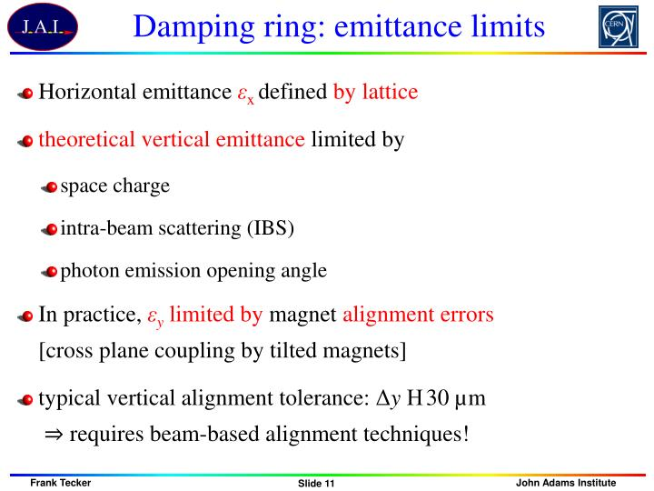 Damping ring: emittance limits