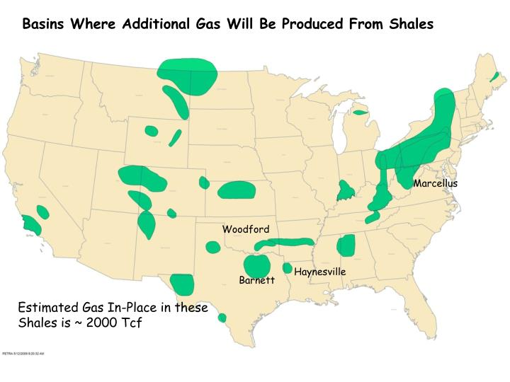 Basins Where Additional Gas Will Be Produced From Shales