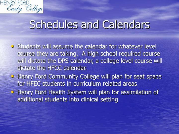 Schedules and Calendars