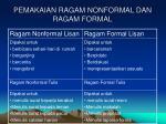 pemakaian ragam nonformal dan ragam formal