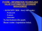 itvcrm information technology value customer relationship management