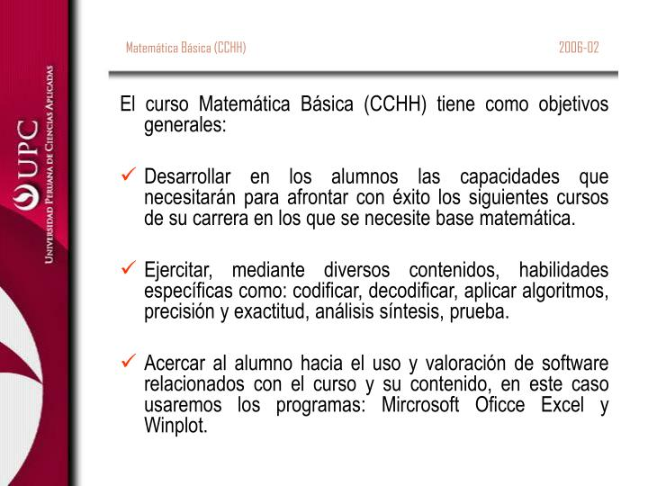 Matemática Básica (CCHH)                                                                          ...