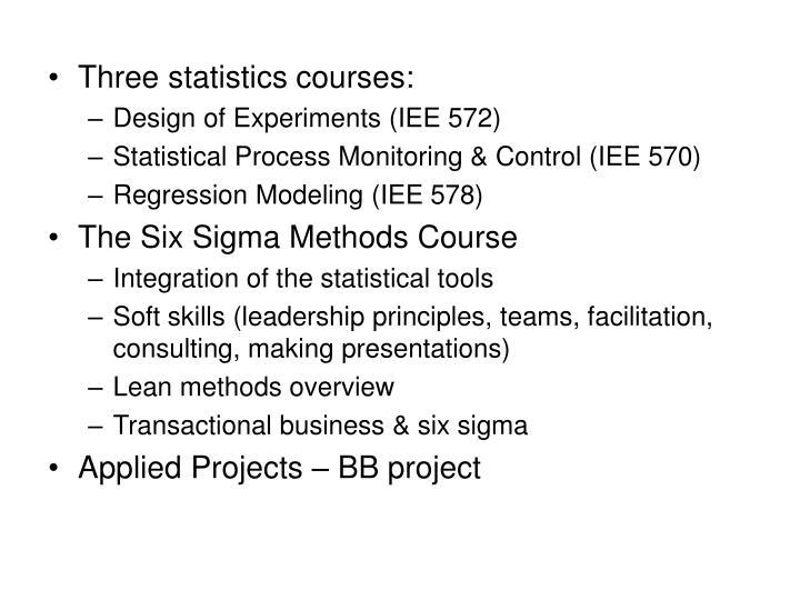 Three statistics courses: