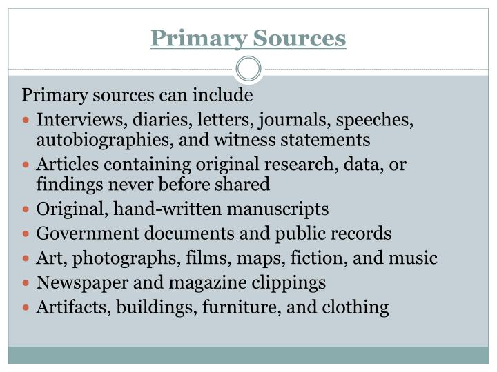 Primary sources1