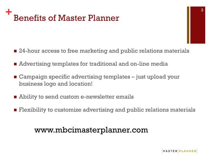 Benefits of master planner