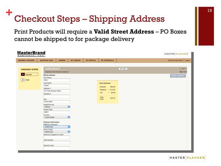 Checkout Steps – Shipping Address