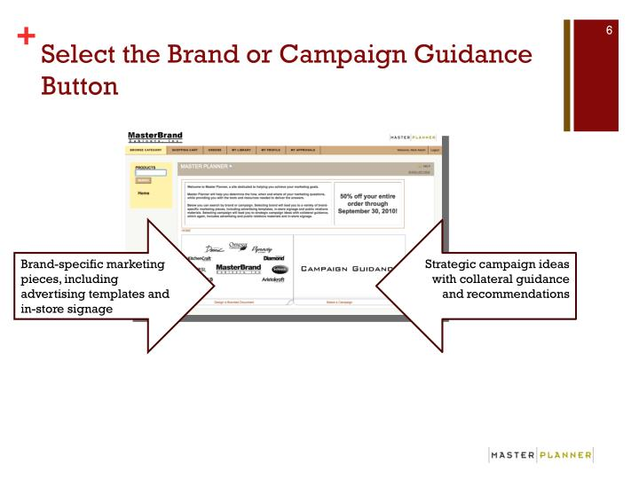 Select the Brand or Campaign Guidance Button