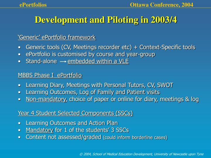 Development and Piloting in 2003/4