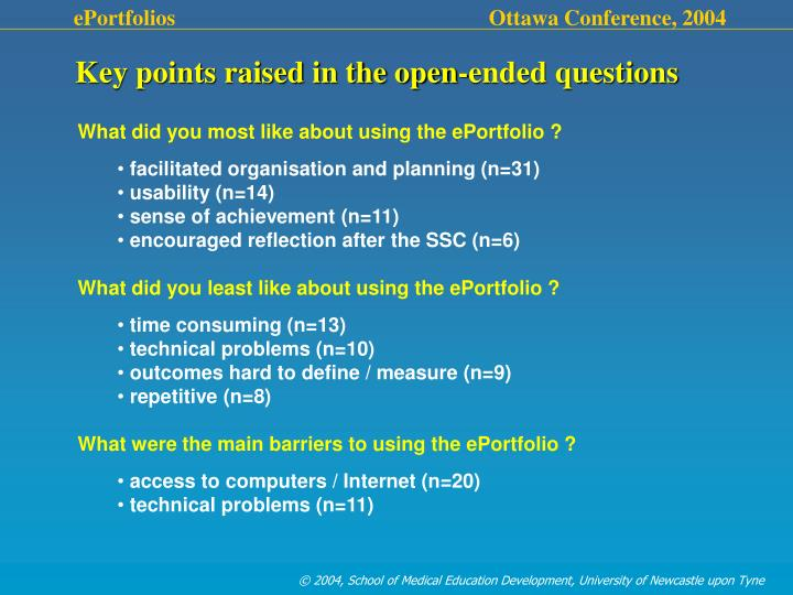 Key points raised in the open-ended questions