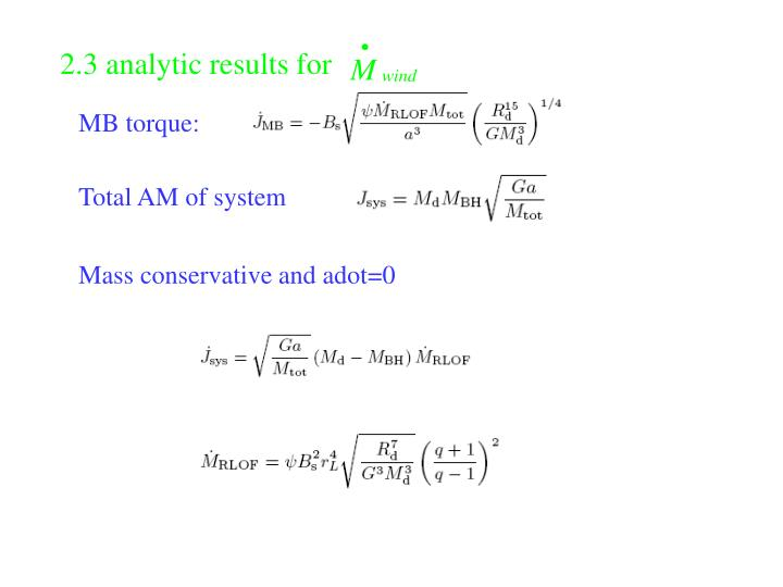 2.3 analytic results for