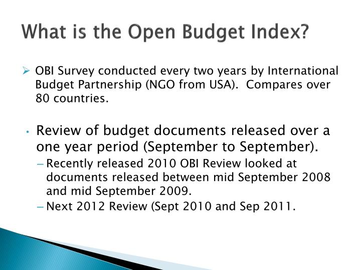 What is the Open Budget Index?