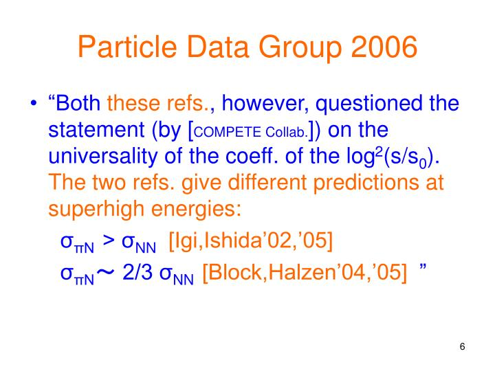 Particle Data Group 2006
