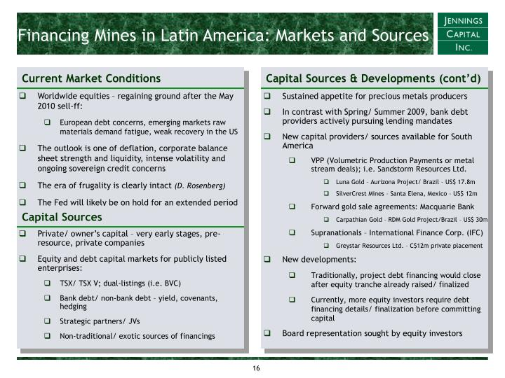 Financing Mines in Latin America: Markets and Sources