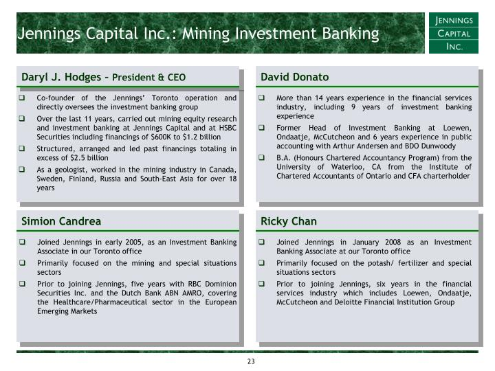 Jennings Capital Inc.: Mining Investment Banking