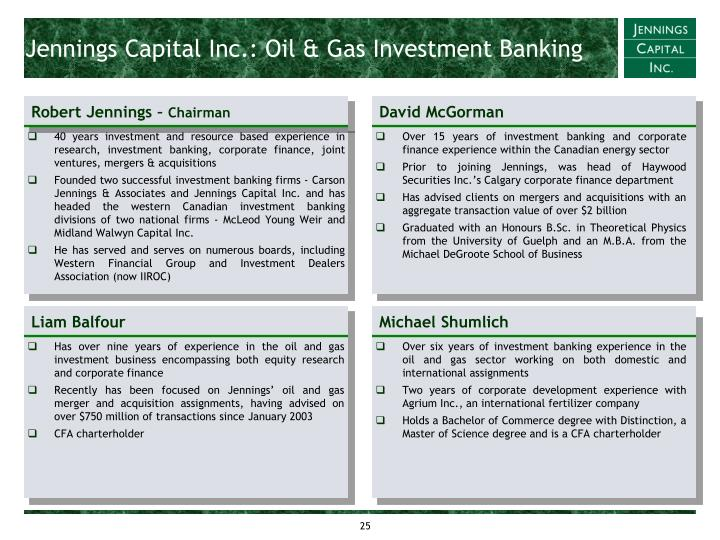 Jennings Capital Inc.: Oil & Gas Investment Banking