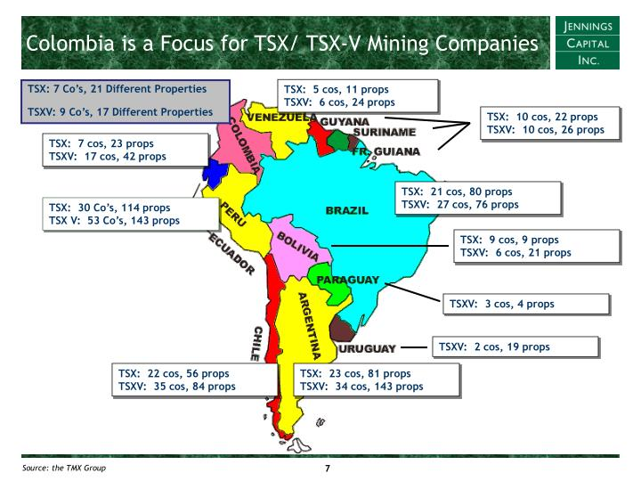 Colombia is a Focus for TSX/ TSX-V Mining Companies