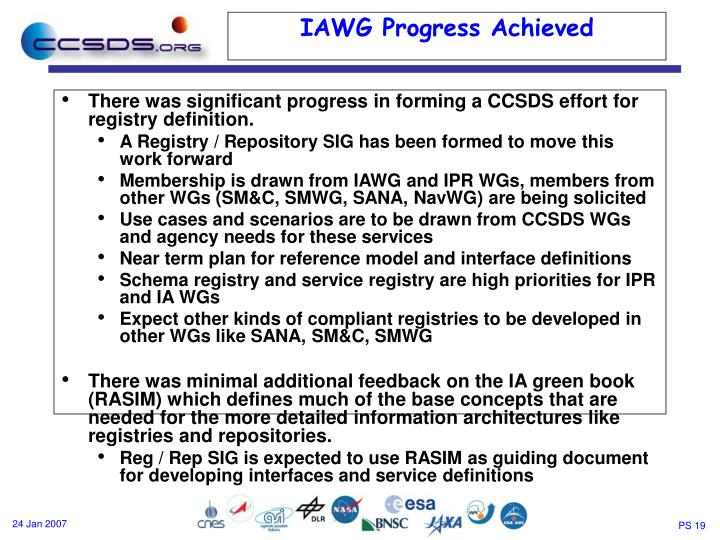 There was significant progress in forming a CCSDS effort for registry definition.