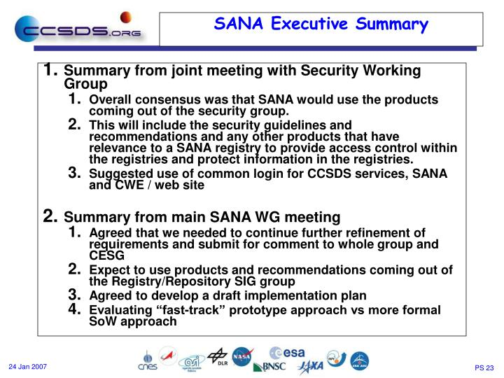 Summary from joint meeting with Security Working Group