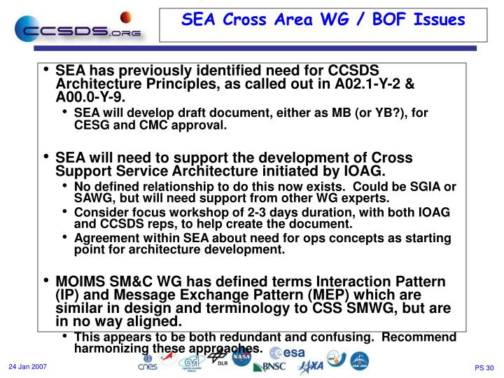 SEA has previously identified need for CCSDS Architecture Principles, as called out in