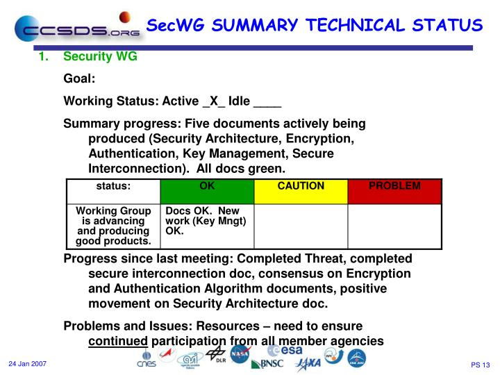 SecWG SUMMARY TECHNICAL STATUS