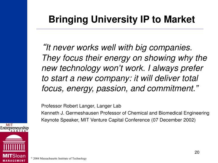 Bringing University IP to Market