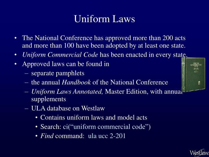Uniform laws1