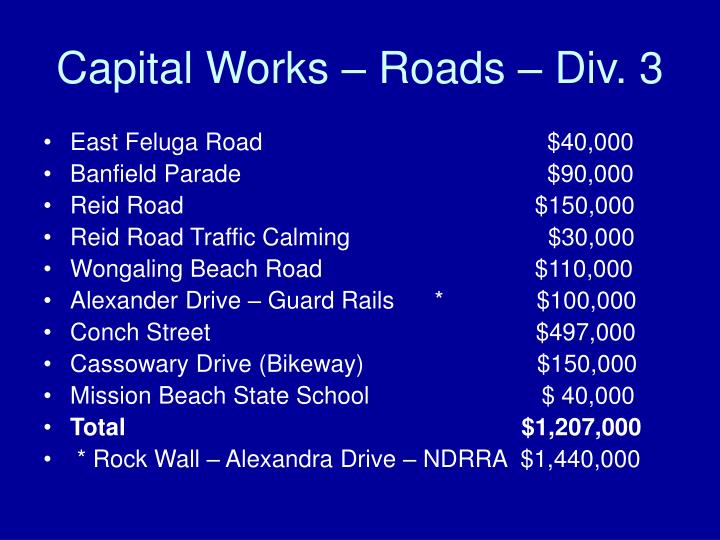 Capital Works – Roads – Div. 3