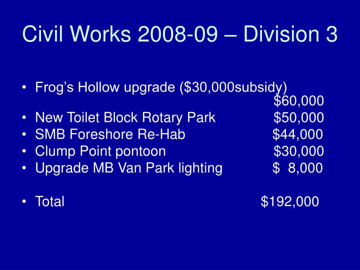 Civil Works 2008-09 – Division 3