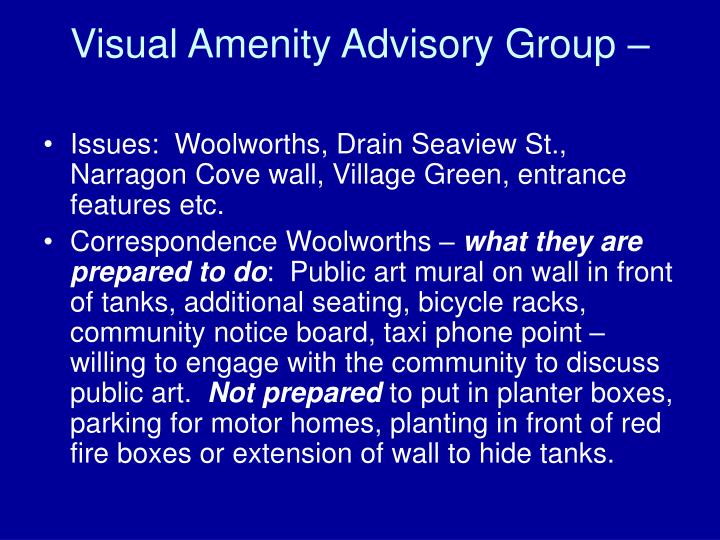 Visual Amenity Advisory Group –