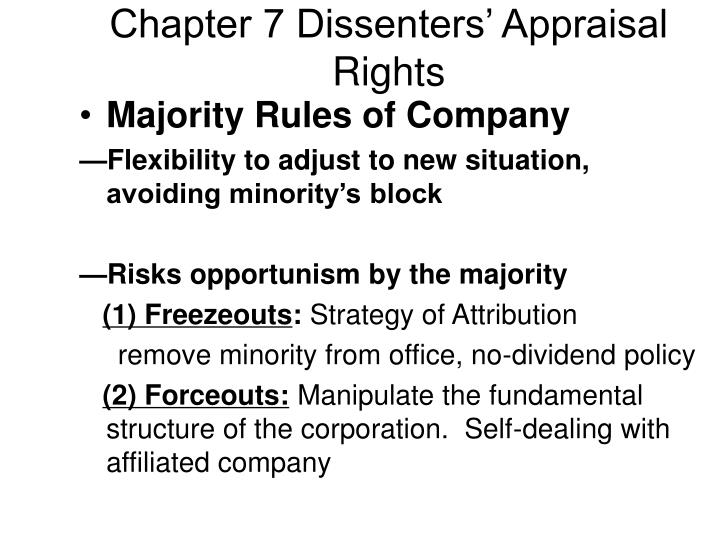 chapter 7 dissenters appraisal rights