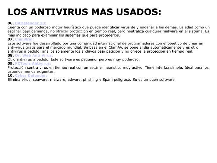 LOS ANTIVIRUS MAS USADOS:
