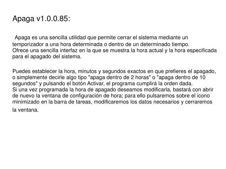 Apaga v1.0.0.85: