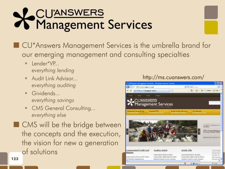 CU*Answers Management Services is the umbrella brand for our emerging management and consulting specialties