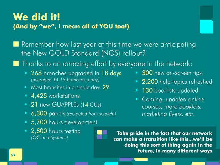 Remember how last year at this time we were anticipating the New GOLD Standard (NGS) rollout?