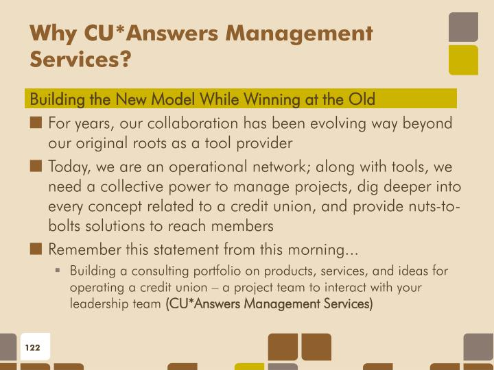 Why CU*Answers Management Services?