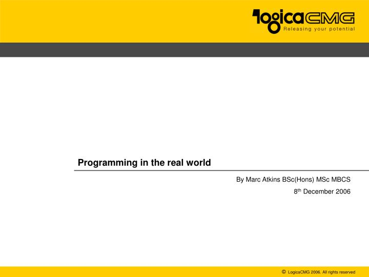 programming in the real world n.
