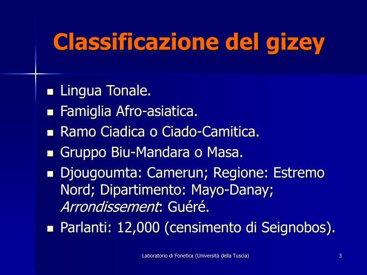 Classificazione del gizey