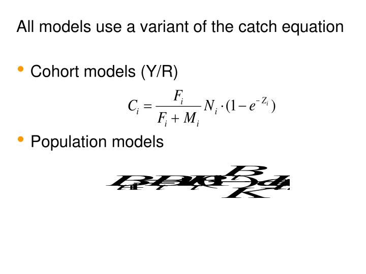 All models use a variant of the catch equation