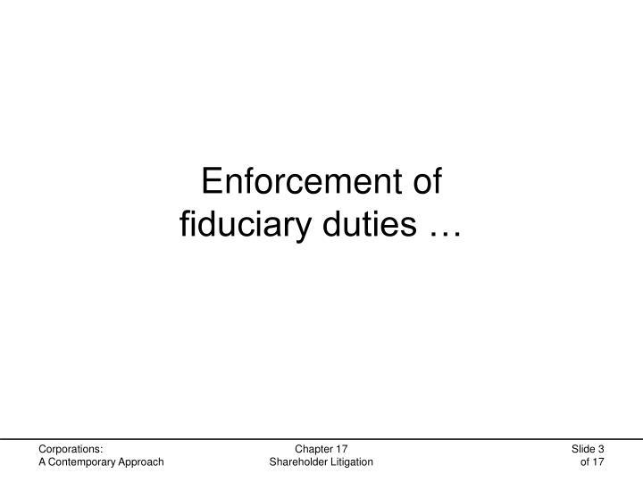 Enforcement of fiduciary duties