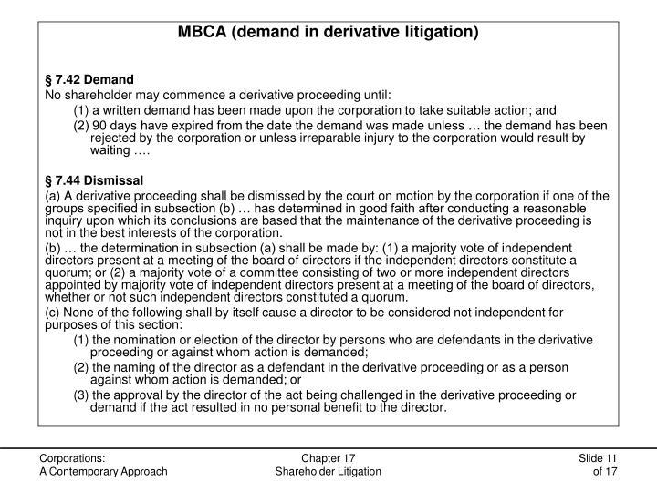 MBCA (demand in derivative litigation)