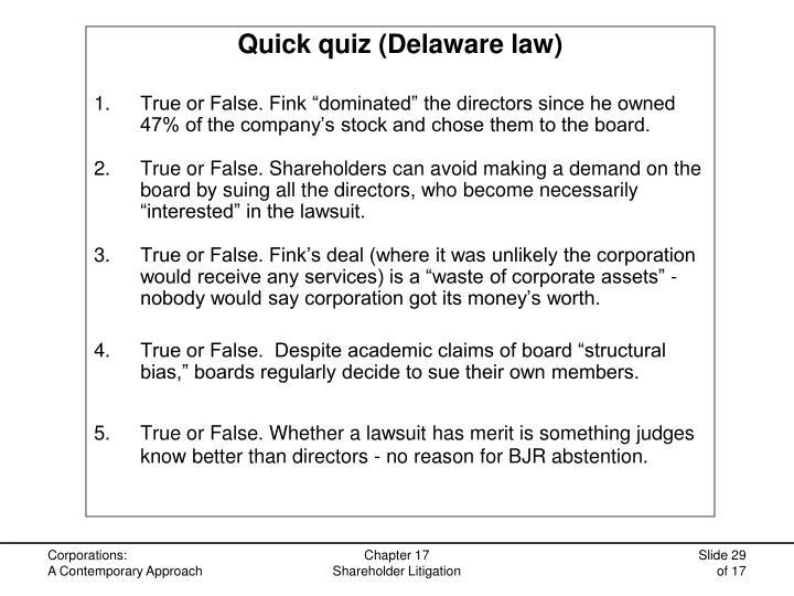 Quick quiz (Delaware law)