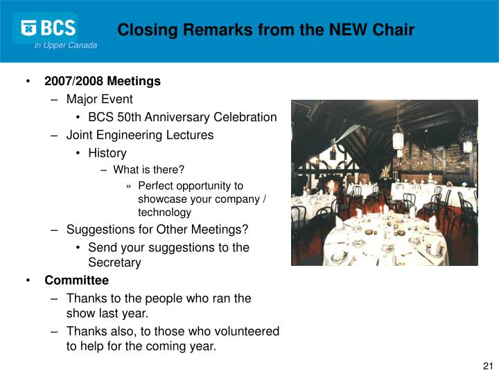 Closing Remarks from the NEW Chair