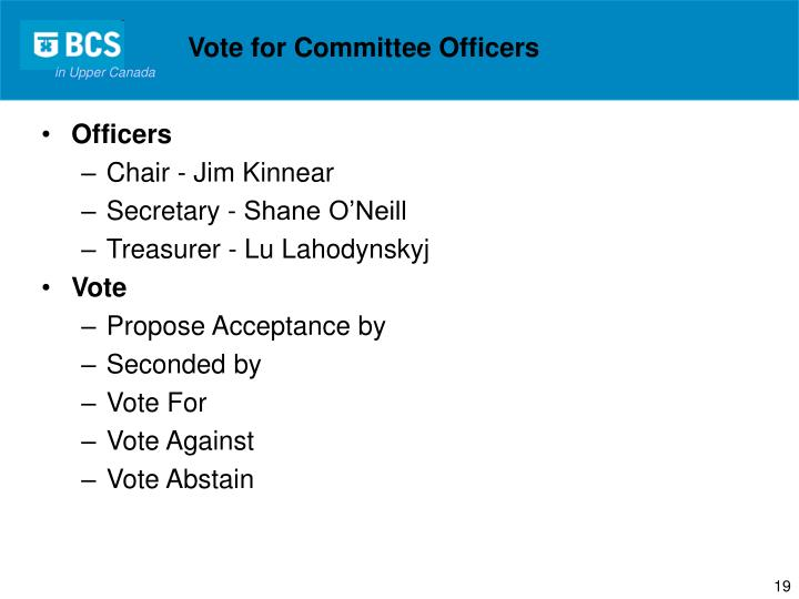 Vote for Committee Officers
